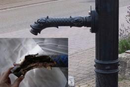 Der Brunnenauslauf vorher und nachher